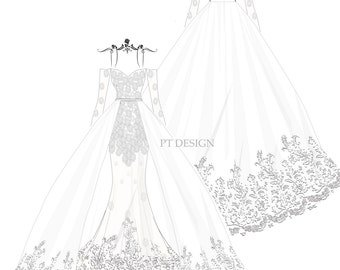 Custom Wedding Dress Sketch- Detachable Ball Gown with Long Sleeve