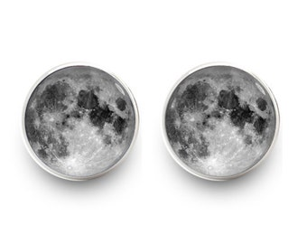 Full Moon Earrings Stud Posts Earrings Space Jewelry (with jewelry box)