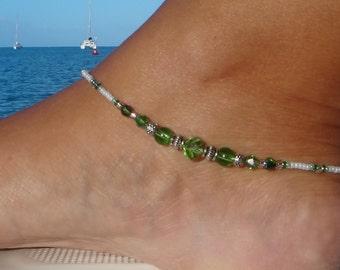Anklet, ankle bracelet, Green Crystal Ankle Bracelet, Green Anklet, Beach Anklet, Beadwork Jewellery,