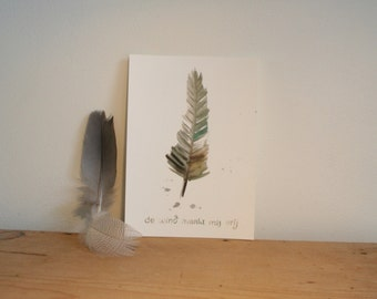 Post card Wind, nature inspiration on paper