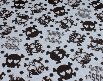 Fabric for children cotton elastane Single jersey light grey skull heart