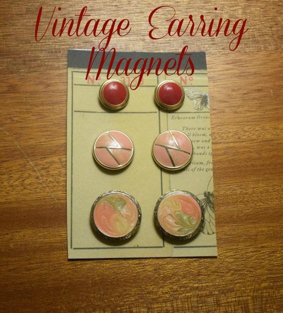 Pink Tones Vintage Earring Magnets