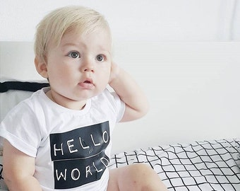 """Baby tshirt with """"hello world"""" print / toddler monochrome top"""