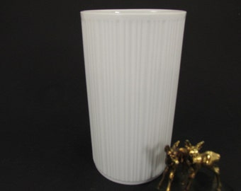 SALE White Vintage Op Art porcelain vase by Melitta, German Mid Century Design