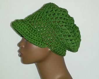 Crochet Newsboy Hat, Kelly Green Newsboy Hat, Women's Winter Hat, Crochet Hat with Visor, Green Newsboy Cap, Green Crochet Winter Hat