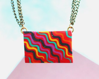 Pendant Necklace -Handmade Polymer Clay Necklace - Antique Chain - Psychedelic Necklace - Viking - Flowing Colors