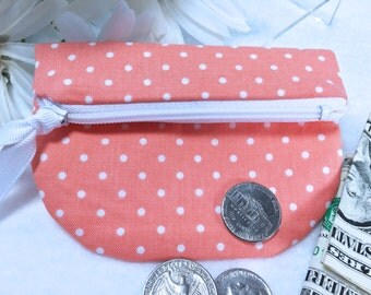 Orange Mini Dot Coin Purse, Secure Zipped Closure, Woman's Small Wallet, Magnetic Snap, Fold Over Change Purse, Small Zipper Pouch