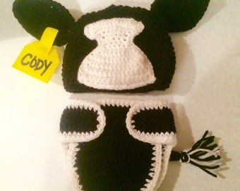 Cow Hat/Optional Diaper Cover