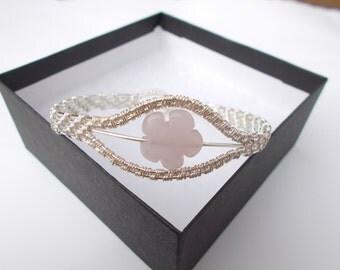 Rose quartz bracelet , Wire wrapped bracelet , Wire wrapped jewelry , Wire jewelry,  Gemstone jewellery , Silver jewelry , pink bracelet