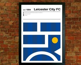 Leicester City Football Club Print, Football Print, Mid Century Art, Modernist Typography Print, Childrens Bedroom Art, Boys Bedroom posters