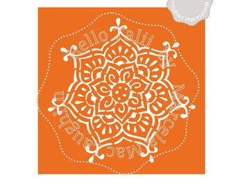 Flower mandala stencil mandala svg cut files clipart for Pochoir mural xxl
