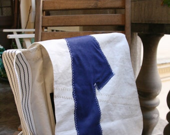 Messenger bag Small Blue White Number 1  Reconstructed Recycled Man Women Christmas Present