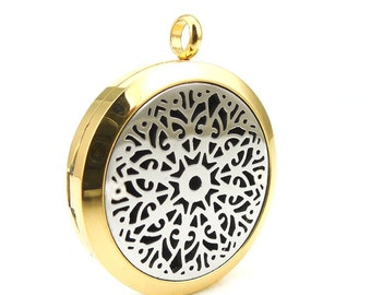 Essentail Oil Diffuser Necklace- Two Tone Mandala