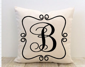 Personalized Pillow Cover, Custom Monogrammed Initial, Decorator Pillow, Home Decor Pillow, Custom House Warming Pillow
