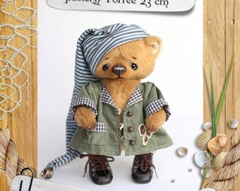 Pattern of a small teddy bear. 9 inches( 23cm) tal