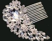 Silver Clear Vintage Hair Comb Brooch Encrusted Crystals Diamante Hair Clip Slide Fascinator Pin Broach Bridal Bouquet Wedding Accessory SC1