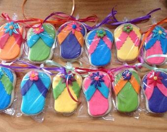 "Flip flop cookies (12) roughly 3-3/4"" x 2-1/2"