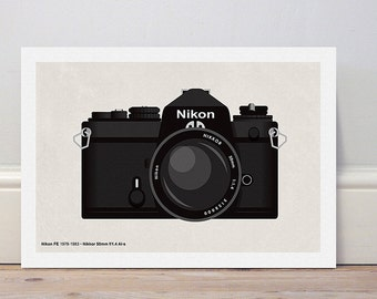 Classic camera series 'Nikon FE' colour print