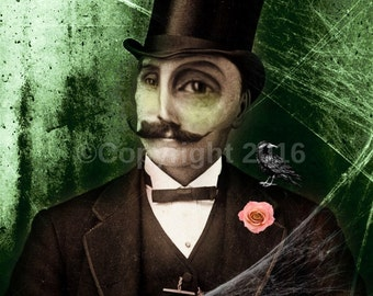 Horror Man Bizarre Freak Face Creepy Vintage Costume Photo Victorian Vintage Altered Art Halloween Instant Download Ephemera Scrapbook