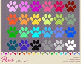 Paw Print Clip Art, Planner Rainbow Color Paws PNGs, Commercial Use