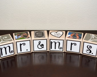 Personalized Wedding Blocks-Personalized Wooden Blocks-Personalized Wooden Wedding Blocks-Wedding Blocks-Newlywed Blocks-Wooden Photo Blocks