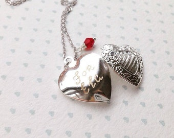 Silver Heart Locket Engraved  Childrens Locket Heart Necklace Bridesmaid Locket Engravable Locket for girls