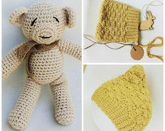 Crochet Newborn Teddy Bear Set, Pastel Cappuccino Cotton, Crochet Soft Toy, First Teddy Bear, Crochet Pixie Baby Bonnet, Newborn Photo Prop.
