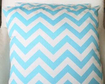 Aqua Chevron Pillow Covers, Decorative Throw Pillows, Cushions, Aqua White Zig Zag, Couch Bed Sofa, Throw Pillow, Girly Blue, ALL SIZES