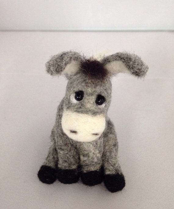 Needle Felted Animal - Gray donkey -  felted animal -  miniature donkey - custom order -  Handmade gift - soft sculpture - gift for her -