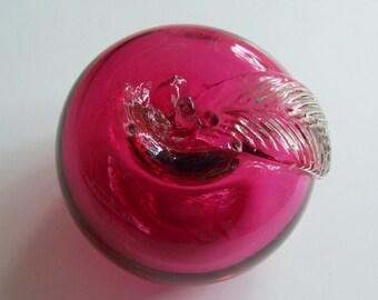 Cranberry Art Glass Apple Paperweight