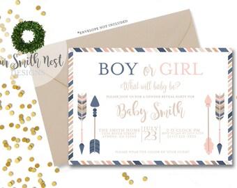 Gender Reveal Party Invitation DIY PRINTABLE Customizable Digital Print