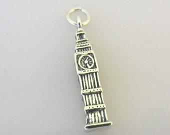 Sterling Silver 3-D BIG BEN Clock Tower Charm Pendant London UK England British Great Bell Westminster Palace .925 Sterling Silver New tr53