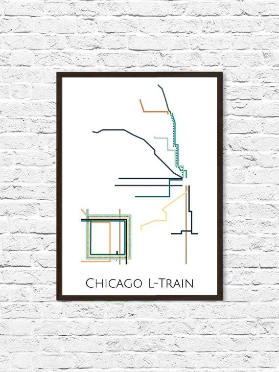 Chicago LTrain Metro Map Transit Map Subway Map Subway