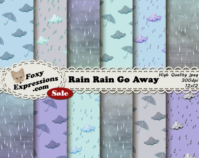 Rain Rain Go Away digital paper comes in light shades of blue, purple, green, and gray. Designs include rain drops, clouds and umbrellas.
