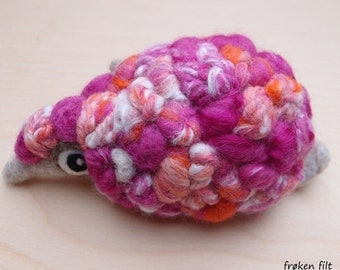 Woolneppy big adult - Decorative pincushion. Textured hot pink and orange fibres and yarns