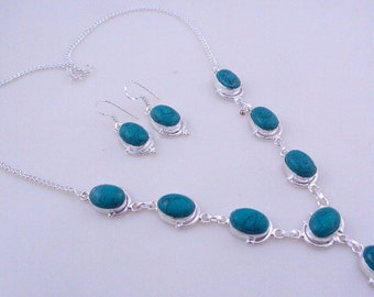 33 Gr. Turquoise Stone .925 Silver Handmade Jewelry Necklace (Jh-84)