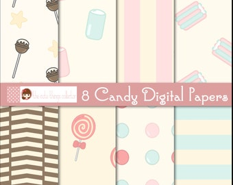 Candy Digital Paper Paper goods Pattern Background Scrapbooking Instant Download