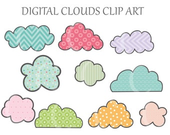 10 Digital Cloud Clipart Printable Instant Download PNG Scrapbooking Sticker Invitation Cards Commercial use