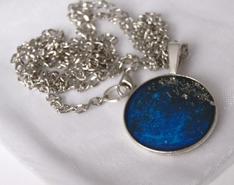 Long Pendant Necklace Universe Jewellery Galaxy Necklace Big Pendant Necklace Blue Necklace Silver Pendant Gift Ideas For Her Free Shipping