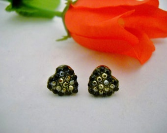 """Black Heart Jewelry Deco Earrings Marcasites and Charcoal Rhinestones 1/2"""" size Stocking Stuffer//Girls Jewelry//Art Deco//Black and Silver"""