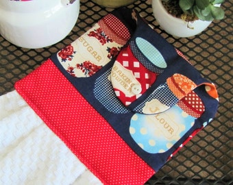 Vintage Jars Kitchen Towel, Everyday Self Hanging Kitchen Towel -- [vintage jars] -- KT4010