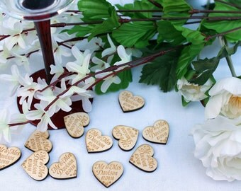 Wooden Hearts Just Married Mr and Mrs, Mr and Mr or Mrs and Mrs wedding table confetti