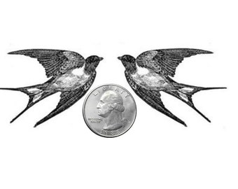 Temporary Tattoo -  Set of 2 Swallows - Various Patterns