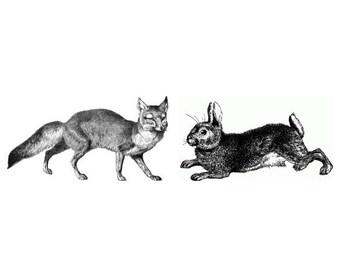 Temporary Tattoo - Fox and Hare /Pig/White Rabbit