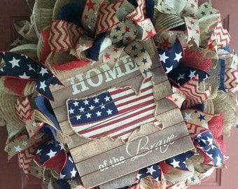 "Patriotic ""Home of the Brave"" wreath"