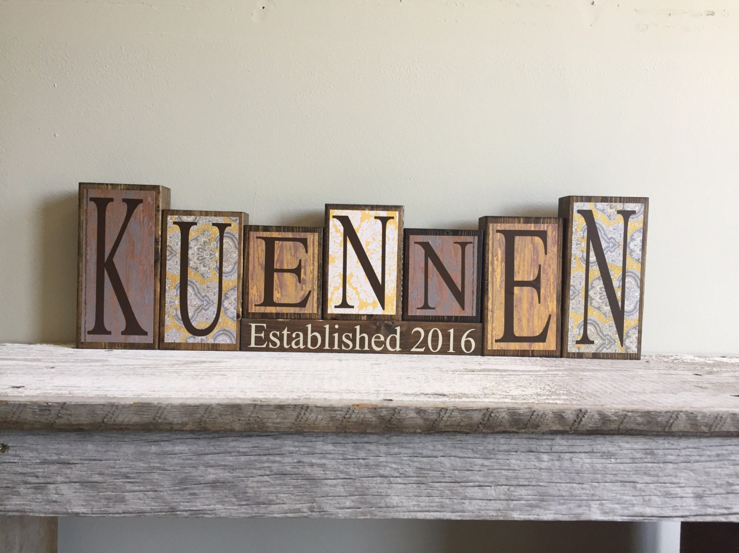 Custom Personalized Home Decor Wood Blocks Last Name