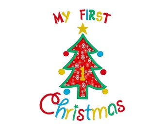 My 1st Christmas Applique Machine Embroidery Design, My First Christmas Applique, Christmas Tree Applique, Instant Download, No: JG00001-2