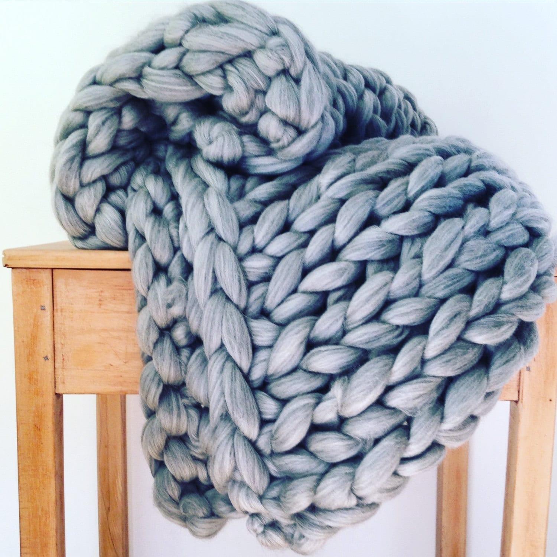 riese gestrickte decke chunky knit werfen reiner wolle. Black Bedroom Furniture Sets. Home Design Ideas