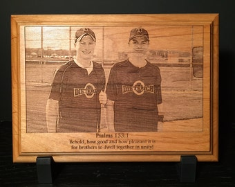 Personalized Photos Laser Engraved onto Wooden Plaque