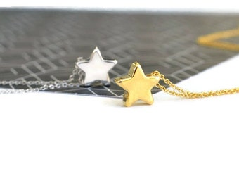 Gold or Silver Star Necklace | Small Star Pendant | Dainty Star Charm Jewellery